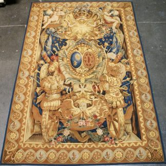 6 feet W x 9 feet H Hand-woven French Gobelins Weave Louis XIV Armorial Coat of Arms Knight Armor Wool Aubusson Tapestry Wall Hanging 12980786