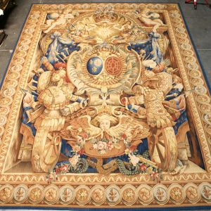 9 feet W x 12 feet H Hand-woven French Gobelins Weave Louis XIV Armorial Coat of Arms Knight Armor Wool Aubusson Tapestry Wall Hanging 12980786 (1)