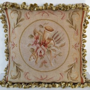"18"" x 18"" Hand-woven French Gobelins Tapestry Weave Musical Instruments Wool Aubusson Cushion Cover Pillow Case 12980790"