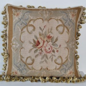 "18"" x 18"" Hand-woven French Gobelins Tapestry Weave Wool Aubusson Cushion Cover Pillow Case 12980789"
