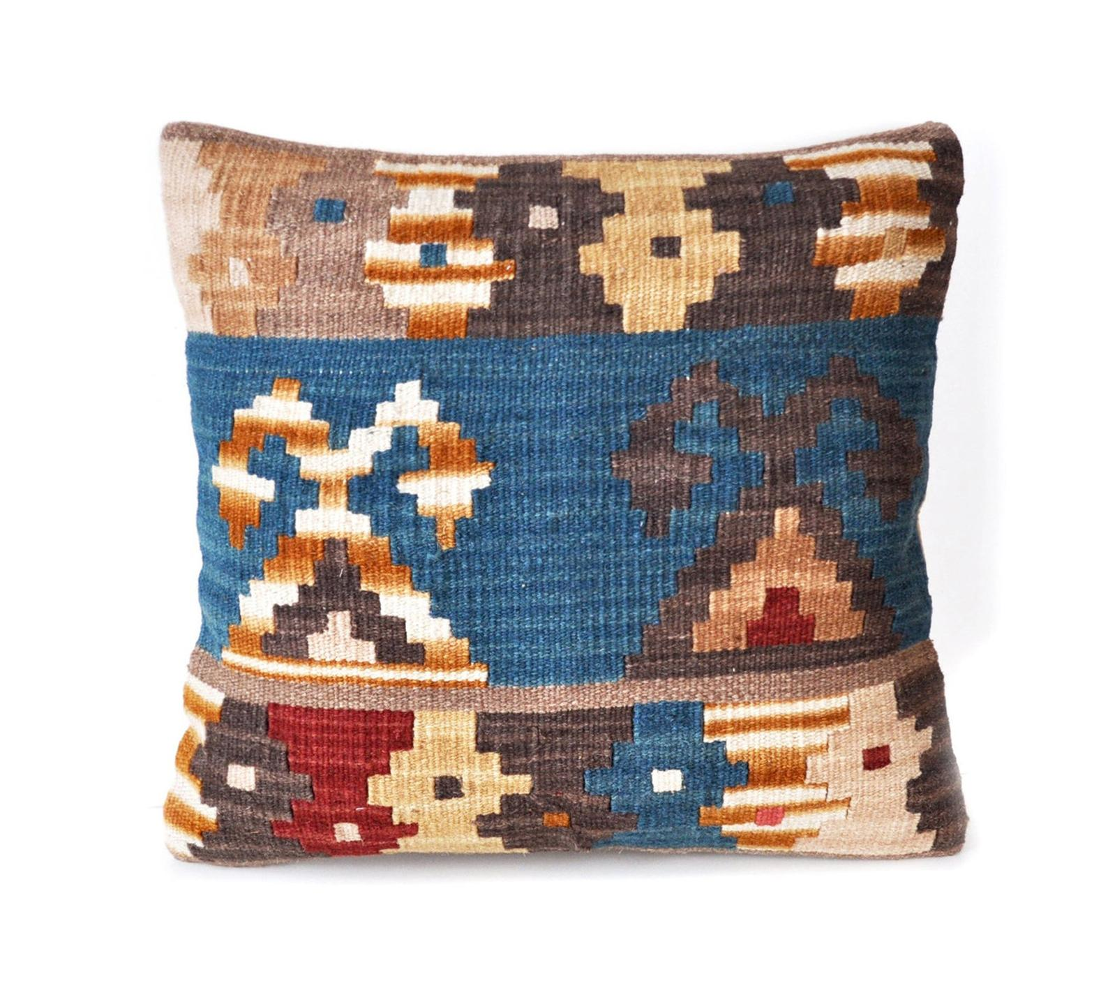 18″x18″ Hand-woven Wool Kilim Pillow Cover 12980792