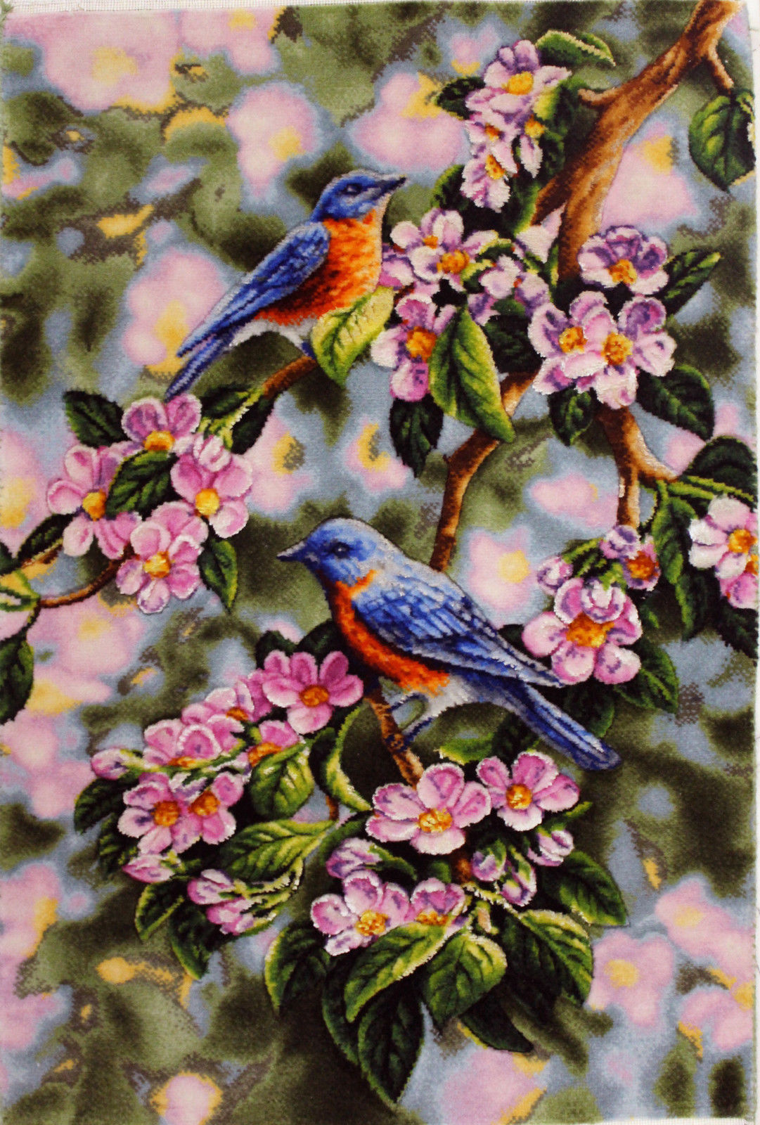 1'3″W x 1'10″H Handmade Wool and Silk Birds in Blooming Tree Persian Tableau Rug Tapestry Wall Hanging 12980814