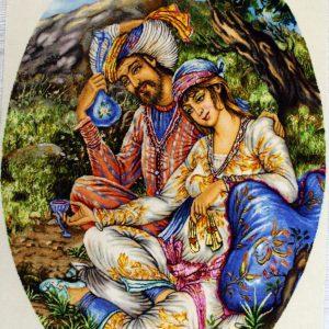 "2'1""W x 3'H Handmade Wool and Silk KHAYYAM LOVER Persian Tableau Rug Tapestry Wall Hanging 12980806"