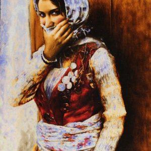 "2'1""W x 3'H Handmade Wool and Silk KURDISH PERSIAN GIRL Persian Tableau Rug Tapestry Wall Hanging 12980817"