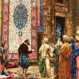 "2'3""W x 3'2""H Handmade Wool and Silk THE CARPET MERCHANT by Jean Leon Gerome Persian Tableau Rug Tapestry Wall Hanging 12980818"