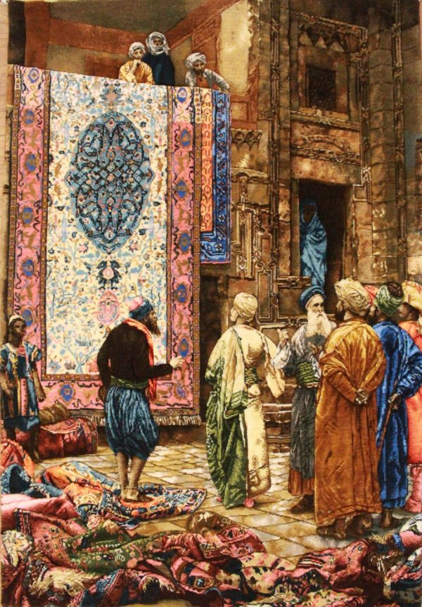 """2'3""""W x 3'2""""H Handmade Wool and Silk THE CARPET MERCHANT by Jean Leon Gerome Persian Tableau Rug Tapestry Wall Hanging 12980818"""