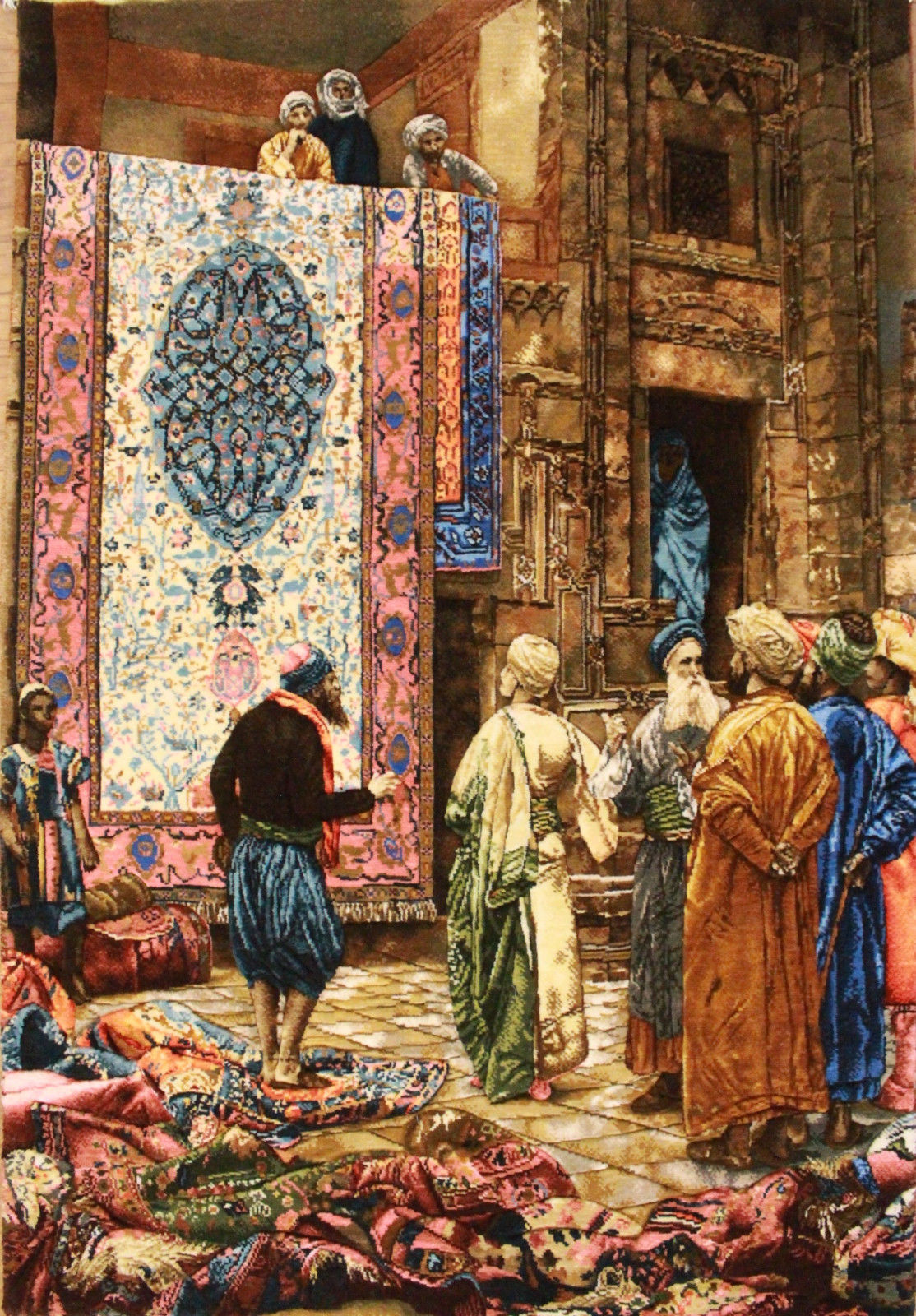 2'3″W x 3'2″H Handmade Wool and Silk THE CARPET MERCHANT by Jean Leon Gerome Persian Tableau Rug Tapestry Wall Hanging 12980818
