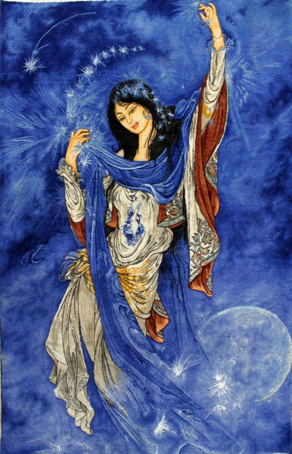 "2'7""W x 4'1""H Handmade Wool and Silk MORNING STAR FARSHCHIAN Persian Tableau Rug Tapestry Wall Hanging 12980815"