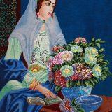 "2'W x 2'8""H Handmade Wool and Silk QAJAR GIRL Persian Tableau Rug Tapestry Wall Hanging 12980822"