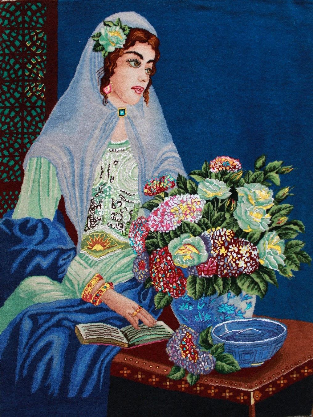 2'W x 2'8″H Handmade Wool and Silk QAJAR GIRL Persian Tableau Rug Tapestry Wall Hanging 12980822
