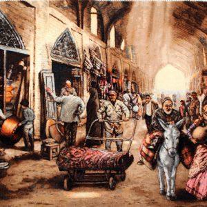 "3'4""W x 2'1""H Handmade Wool and Silk MESGHARAN BAZAAR Persian Tableau Rug Tapestry Wall Hanging 12980813"