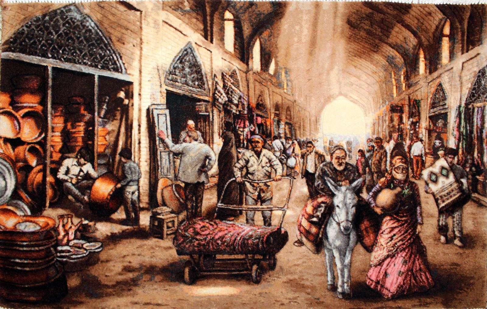 3'4″W x 2'1″H Handmade Wool and Silk MESGHARAN BAZAAR Persian Tableau Rug Tapestry Wall Hanging 12980813