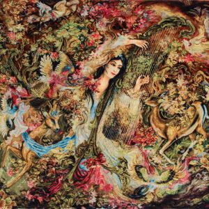 """3'8""""W x 2'7""""H Handmade Wool and Silk Persian Tableau Rug Tapestry Wall Hanging 12980801"""