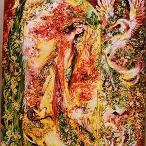 "3'W x 4'7""H Handmade Wool and Silk Farshchian Miniature Persian Tableau Rug Tapestry Wall Hanging 12980808"