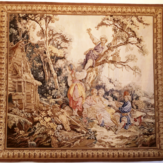 "8'6""W x 7'6""H Hand-woven French Gobelins Weave Wool Aubusson Tapestry Wall Hanging 12980794"