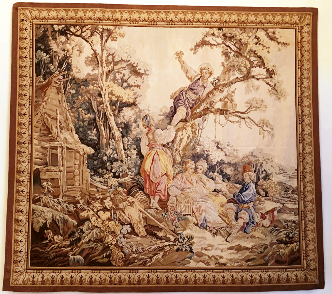 8'6″W x 7'6″H Hand-woven French Gobelins Weave Wool Aubusson Tapestry Wall Hanging 12980794