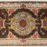 "9'9""W x 6'6""H Handmade Wool and Silk Quran Persian Tableau Rug Tapestry Wall Hanging 12980810"