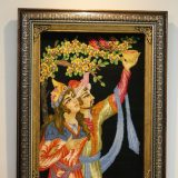 """1'11""""W x 2'2""""H Handmade Wool and Silk Persian Tableau Rug Tapestry Wall Hanging 12980828"""