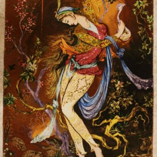 "1'8""W x 2'8""H Handmade Wool and Silk Farshchian Miniature Persian Tableau Rug Tapestry Wall Hanging 12980843"