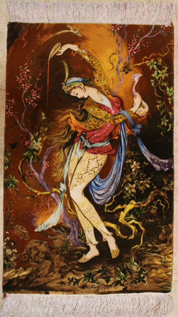 "1'8""W x 2'8""H Handmade Wool and Silk Farshchian Miniature Persian Tableau Rug Tapestry Wall Hanging 12980843"