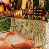 """1'8""""W x 2'8""""H Handmade Wool and Silk GIRL WITH GUITAR Persian Tableau Rug Tapestry Wall Hanging 12980851"""