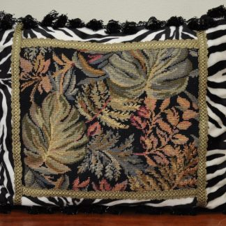 """21"""" x 24"""" Black Wool Needlepoint Cushion Cover Pillow Case with Zebra Print Back 12980868"""