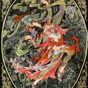 "2'10""W x 4'H Handmade Wool and Silk MAHMOUD FARSHCHIAN Persian Tableau Rug Tapestry Wall Hanging 12980841"