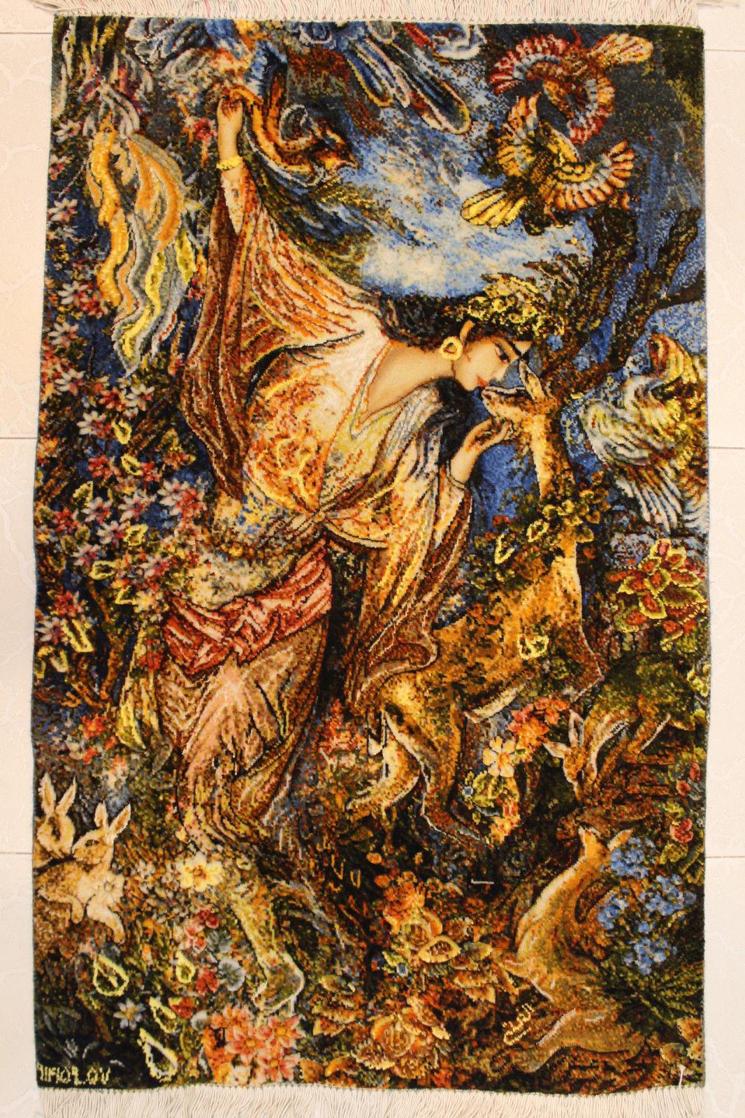 2'1″W x 3'5″H Handmade Wool and Silk FARSH MINIATOR Farshchian Rostan Persian Tableau Rug Tapestry Wall Hanging 12980827