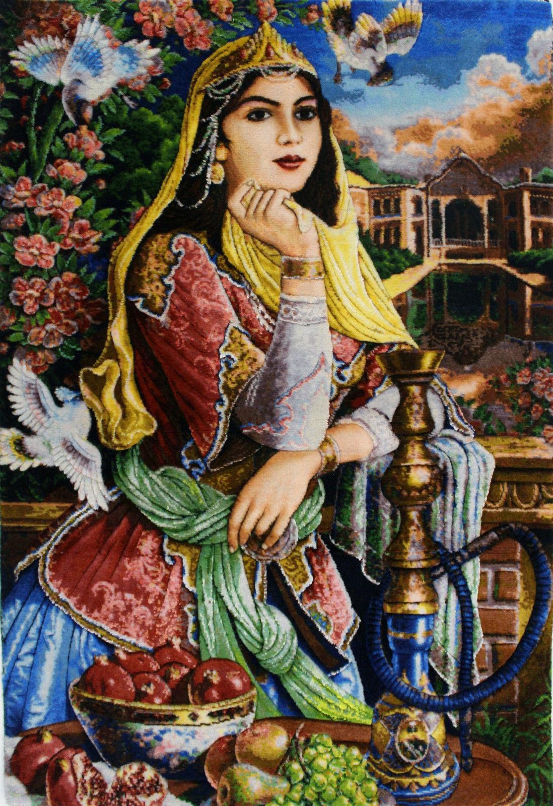 2'2″W x 2'10″H Handmade Wool and Silk QAJAR GIRL Persian Tableau Rug Tapestry Wall Hanging 12980824