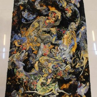 "2'2""W x 3'2""H Handmade Wool and Silk Farshchian Miniature Persian Tableau Rug Tapestry Wall Hanging 12980849"