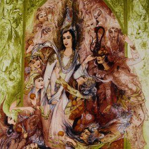 "2'5""W x 3'8""H Handmade Wool and Silk FARSH JUSEF MINIATOR Persian Tableau Rug Tapestry Wall Hanging 12980830"