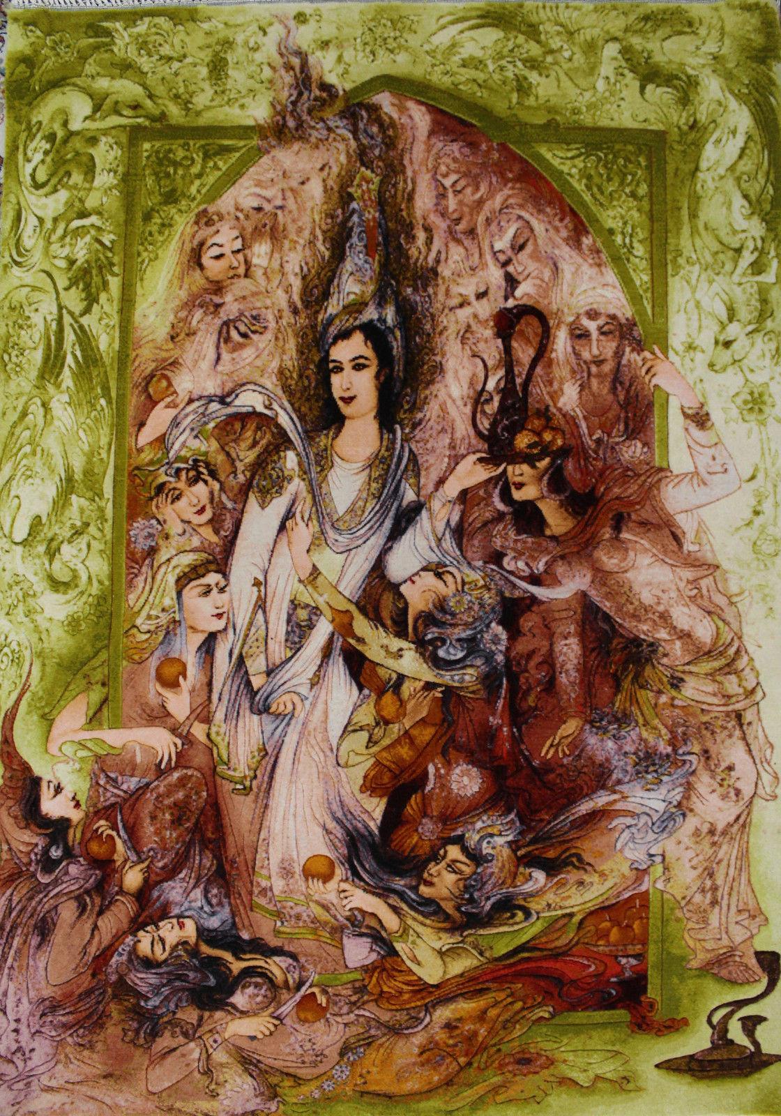 2'5″W x 3'8″H Handmade Wool and Silk FARSH JUSEF MINIATOR Persian Tableau Rug Tapestry Wall Hanging 12980830