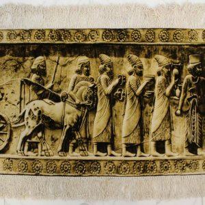 "3'7""W x 1'11""H Handmade Wool and Silk PERSPOLIS Persian Tableau Rug Tapestry Wall Hanging 12980838"