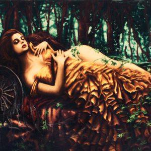 "3'7""W x 2'4""H Handmade Wool and Silk Sleeping Beauty Persian Tableau Rug Tapestry Wall Hanging 12980860"