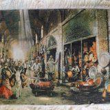 "3'W x 2'1""H Handmade Wool and Silk MESGHARAN BAZAAR Persian Tableau Rug Tapestry Wall Hanging 12980823"