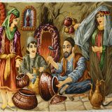 "3'W x 2'5""H Handmade Wool and Silk TRADITIONAL BAZAR Persian Tableau Rug Tapestry Wall Hanging 12980866"