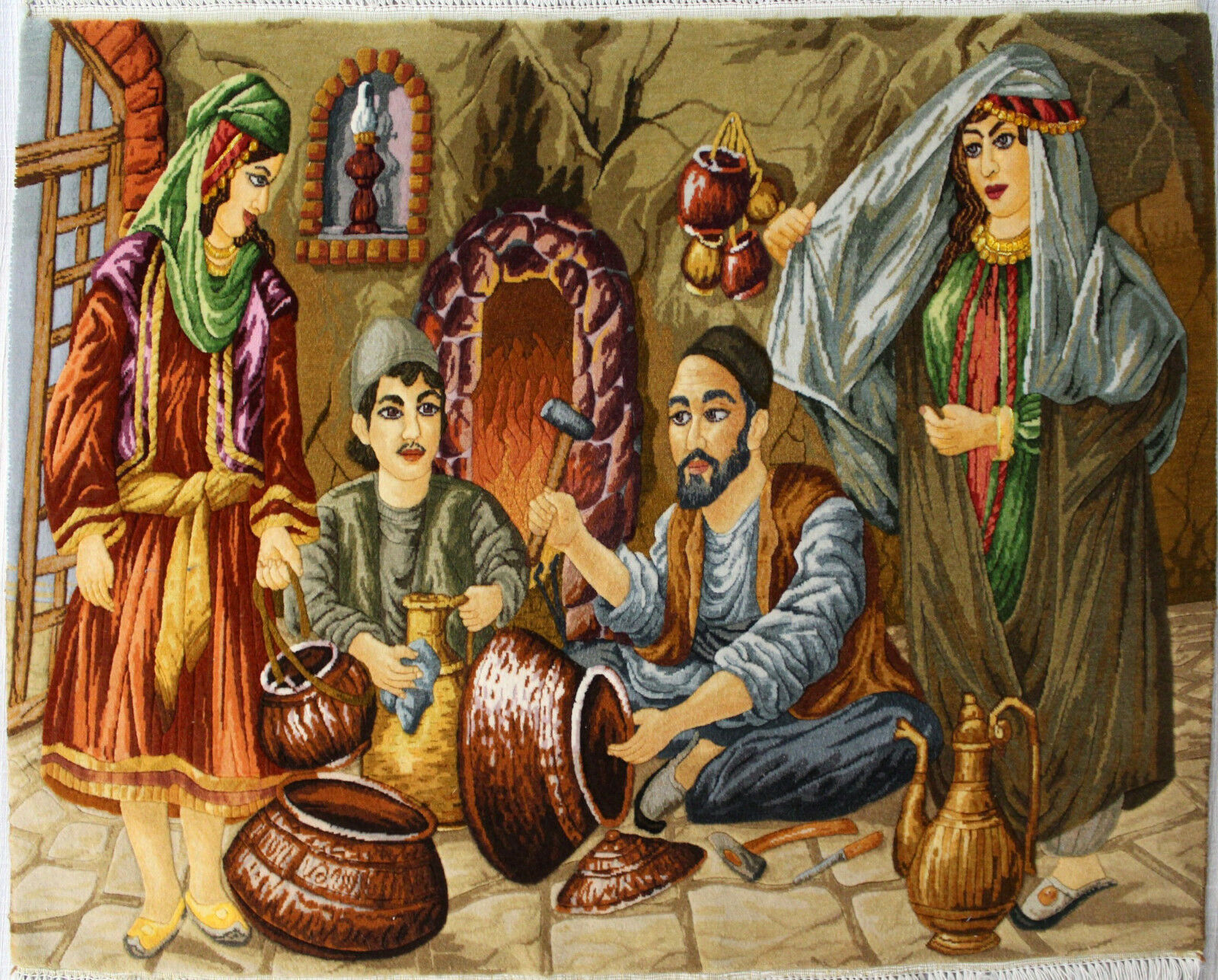 3'W x 2'5H Handmade Wool and Silk TRADITIONAL BAZAR Persian Tableau Rug Tapestry Wall Hanging 12980866 (1)
