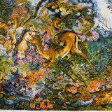 "4'11""W x 3'H Handmade Wool and Silk FARSH MINIATOR Persian Tableau Rug Tapestry Wall Hanging 12980831"