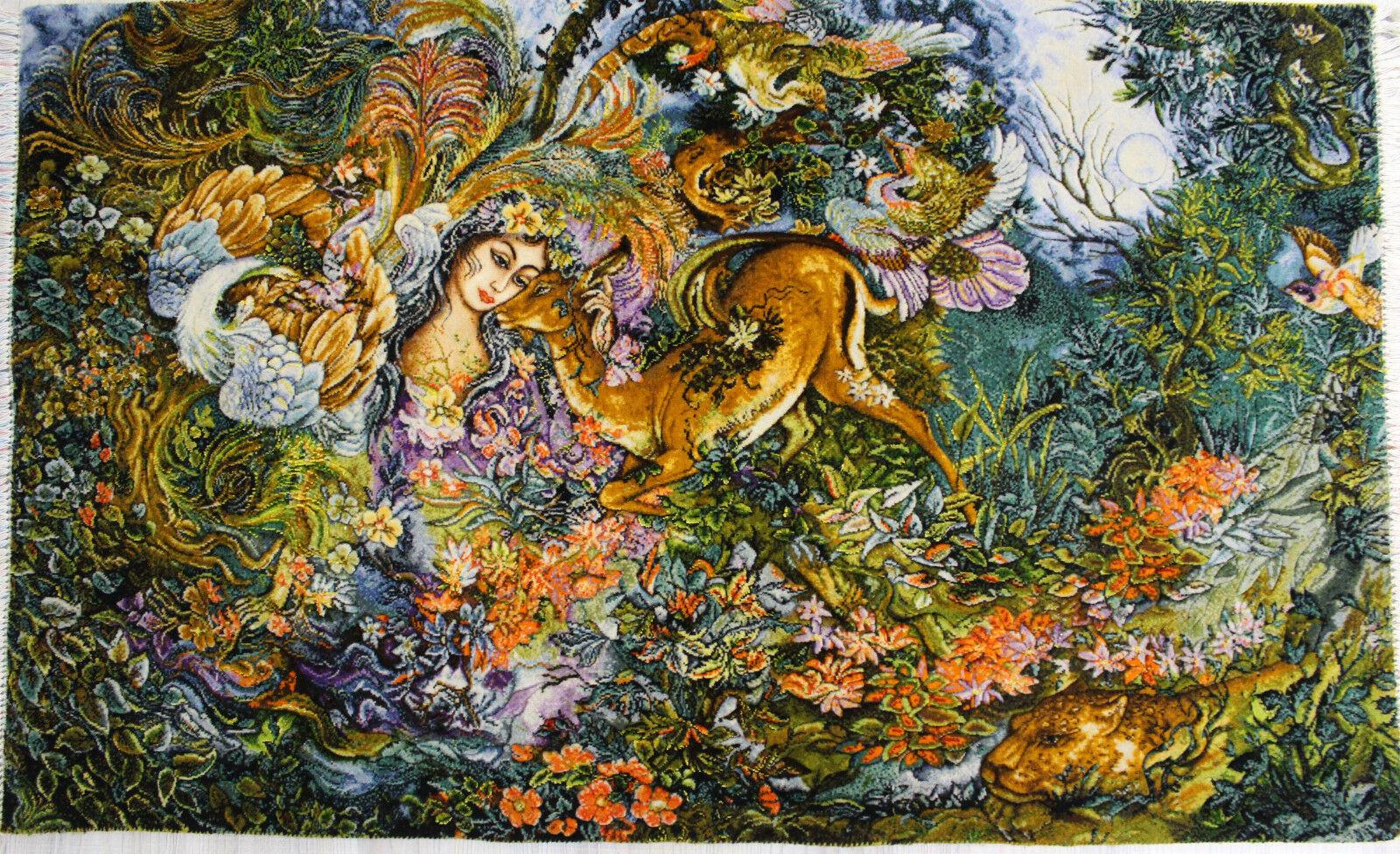 4'11W x 3'H Handmade Wool and Silk FARSH MINIATOR Persian Tableau Rug Tapestry Wall Hanging 12980831 (1)