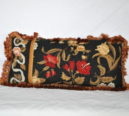 "10"" x 22"" Handmade Custom Floral Rose and Ribbon Wool Needlepoint Bolster Pillow Case Cushion Cover with Giraffe Print Backing 12980873"