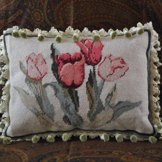 "11"" x 15"" Handmade Custom Made Floral Tulips Wool Needlepoint Throw Pillow Case / Cushion Cover with Crystal Beaded Fringe 12980871"