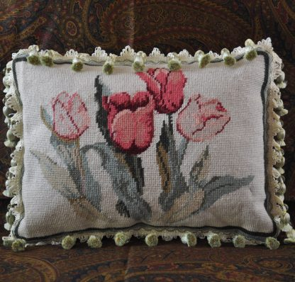"""11"""" x 15"""" Handmade Custom Made Floral Tulips Wool Needlepoint Throw Pillow Case / Cushion Cover with Crystal Beaded Fringe 12980871"""