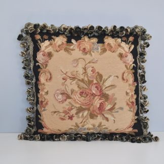 "16"" x 16"" Handmade Black Wool Needlepoint Roses Cushion Cover Pillow Case 12980882"