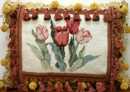 "16"" x 22"" Handmade Custom Wool Needlepoint Tulips Cushion Cover Pillow Case 12980883"