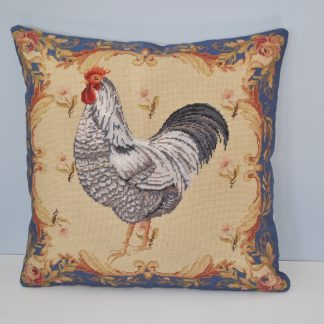 "19"" x 19"" Handmade Blue Wool Needlepoint Rooster Cushion Cover Pillow Case 12980881"