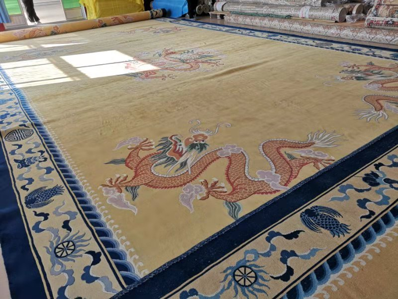 19′ x 59′ Palace Sized Hand-knotted Wool Chinese Dragon Area Rug 12980884