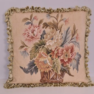 "20"" x 20"" Handmade Antique Reproduction Gobelins Tapestry Wool Aubusson Basket of Flowers Cushion Cover Pillow Case 12980870"