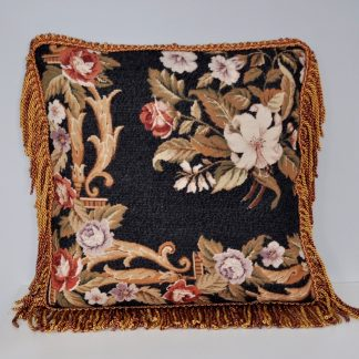 20 x 20 Handmade Custom Black Wool Needlepoint Rose Pillow Case Cushion Cover with Giraffe Print Backing 12980877