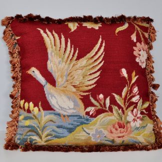 "21"" x 21"" Handmade Custom Red Wool Needlepoint Duck Pillow Case Cushion Cover with Giraffe Print Backing 12980875"