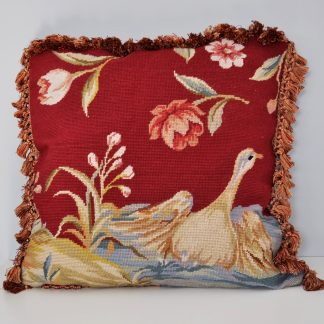 "21"" x 21"" Handmade Custom Red Wool Needlepoint Duck Pillow Case Cushion Cover with Giraffe Print Backing 12980876"